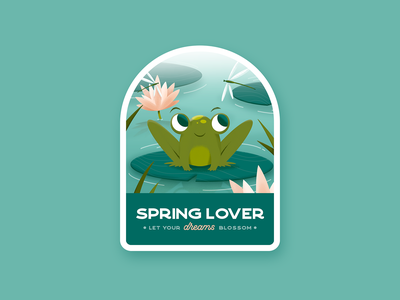 Spring Lover patch waterlily pond badge spring weeklywarmup frog challenge illustration