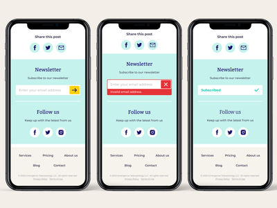 Subscribe to newsletter flow social follow follow us footer design footer mobile ui subscribed error input design medical app medical ui mobile design subscribe form newsletter