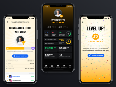 Stock game - profile details stock game stock market mobile app ui level up congratulations profile design profile details