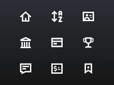 Iconography for Stock Market Game stock market mobile ui icon ui mobile app mobile design icon pack icon design icon set icons iconography