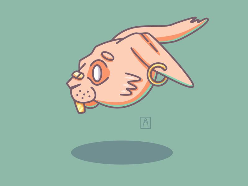 Rabbit pink head rabbit vector design illustration
