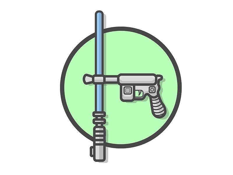 Star Wars logo games space cute cartoon design flat disney gun vector illustration fun movie halloween luke skywalker light saber han solo star wars