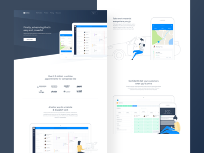 Skedulo Home Page home landing illustration ux ui web product