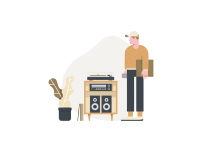 Crate - Illustration vinyl records music crate collection wed landing illustration