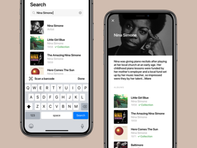 Crate - Search and Artist vinyl ux ui records music mobile iphonex ios crate collection app