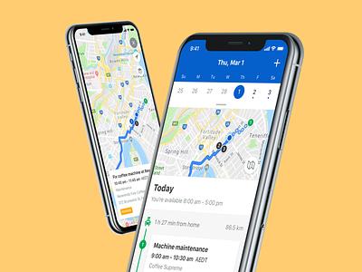 Skedulo - Agenda calander todo navigation map work job time scheduling product schedule skedulo iphonex ux mobile ios ui app