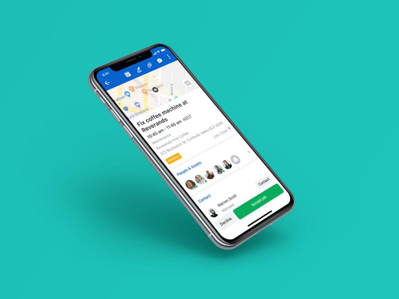 Skedulo - Job Details todo navigation map work job time scheduling product schedule iphonex skedulo ux ios app ui
