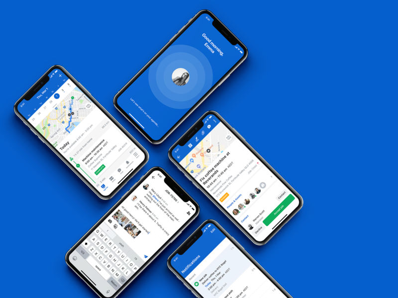 The All New Skedulo Mobile welcome notifications chat todo navigation map work job time scheduling product schedule iphonex skedulo mobile ux ios app ui