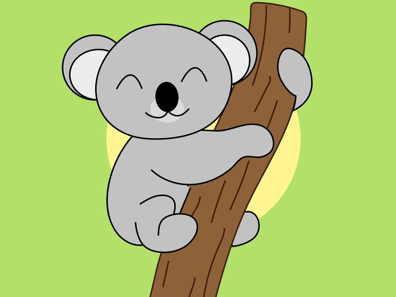 Koala Illustration application animation line illustration simple animal illustration koala bear animal logo icon branding vector illustration design