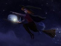 Witch and whales on the broomstick