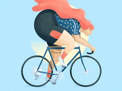 Cyclist pink peach travel cyclist art ipad wavy soft pastel spot illustration graphic illustration graphic design painting digital painting digital art cycling illustration sports illustration procreate design illustration