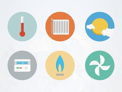 Icon Study - HVAC icon flat temperature heating sun controller gas fan
