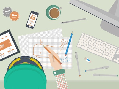 Project S flat illustration imac pencil knife coffee tablet iphone major hat pen whale desk