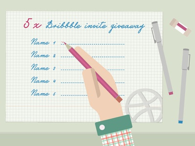 5x Dribbble Invite Giveaway flat invite giveaway draft prospect vector illustrator dribbble ticket desk