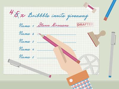 4 x Dribbble Invite Giveaway illustrator vector invite draft winner dribbble giveaway dribbble invites prospect ticket desk