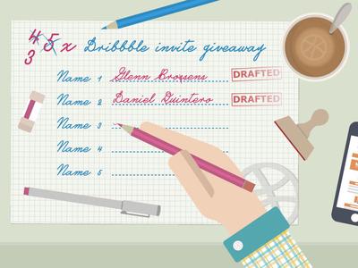 3x Dribbble Invite Giveaway illustrator vector invite draft dribbble giveaway prospect ticket dribbble invites winner desk