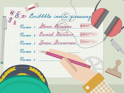 2x Dribbble Invite Giveaway illustrator vector invite draft dribbble giveaway prospect ticket dribbble invites winner desk