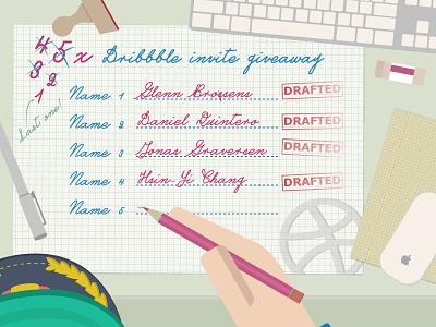 Last Dribbble Invite Giveaway illustrator vector invite draft dribbble giveaway ticket dribbble invites winner prospect desk