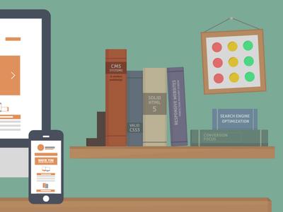 Webshelf flat illustrator vector shelf book booshelf books iphone imac manuals workstation desk