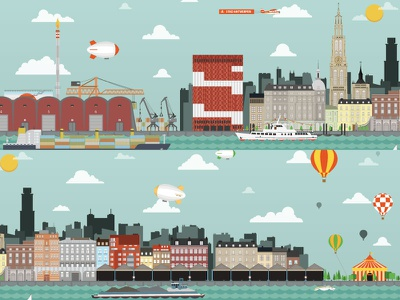 Antwerp Cityscape city illustrated antwerp cityscape boat harbour container balloon plane zeppelin blimp cathedral