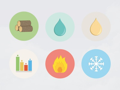Icon Study - Hvac (Part 2)  icon flat illustration biomass water oil efficiency fire cooling