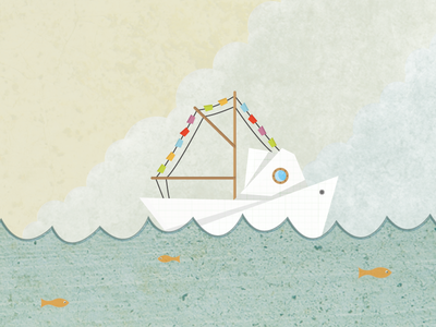 Paper boat paper boat water fog clouds fish flags porthole texture