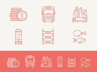 Icon Set (WIP) money truck city transport tank silo crate fish meat flat line icons stroke icon