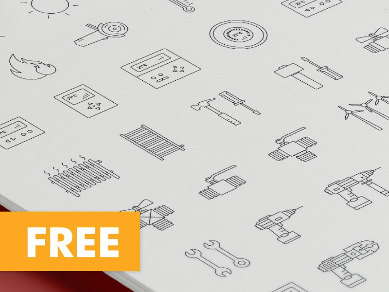 Freebie - Line icon set random stuff heater drilling machine screwdriver grinding disc wrench heating radiator power drill line icon free freebie icon