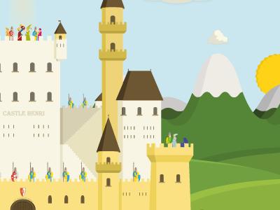 Castle Henri Vi.Ii henri castle landscape character illustrator knights mountains