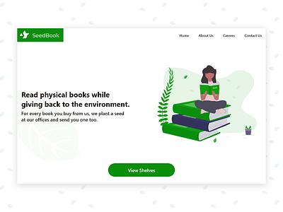 First Dribbble Shot - SeedBook minimal flat website ui design web ux illustration