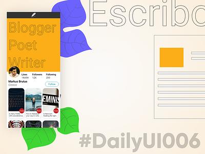 DailyUI006 - Escribo writing mobile dailyui adobexd 006