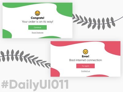DailyUI011 - Flash Message dailyui011 011 card emoji feedback
