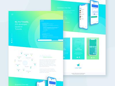 Hello Dribbble! webdesign vibrant gradient neat clean portfolio site web developer toronto web development web design web website homepage