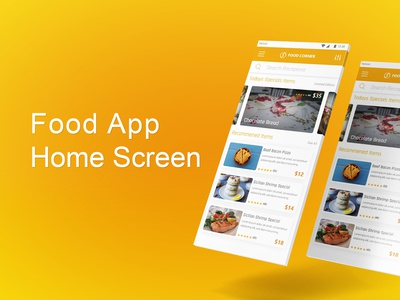 The Online Food App Home Screen Design