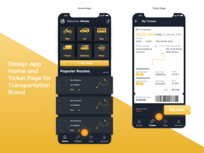 Transportation Mobile App Design
