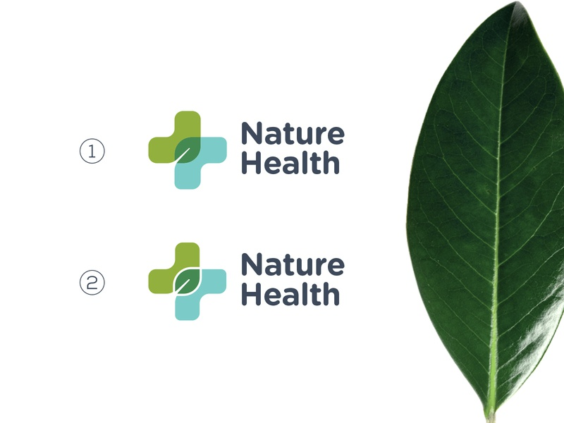 Nature Health logo for sale cosmetics green exploration branding graphics design minimal monogram icon logo cross medical leaf natural health nature