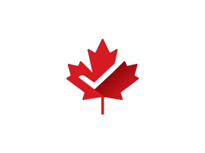 Maple Leaf + Check Mark negative space for sale unused buy for sale nature design branding identity laws brand icon vector monogram logo red right tax canada mark leaf checkmark
