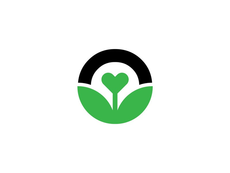 Heart + Plant fitness health nature organic minimal identity wip monogram brand icon leaf logo healthy food green flourish love grow plant
