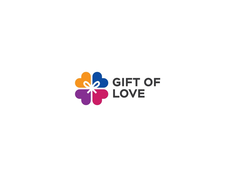 Gift of Love forsale monogram graphics vector minimal identity design gift box begood charity donation logo color love gift