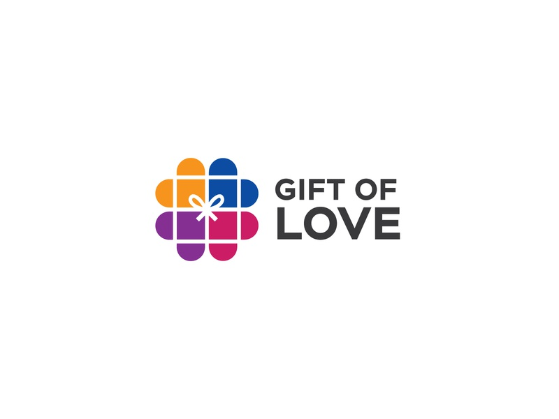Gift of love design humanity giftbox monogram graphics branding abstract logo identity charity donation gift love