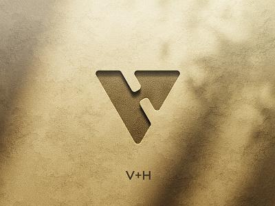 V+H logo Wip financial mark minimal identity logo vector ui icon branding abstract progress growth holding construction arrow letter vh