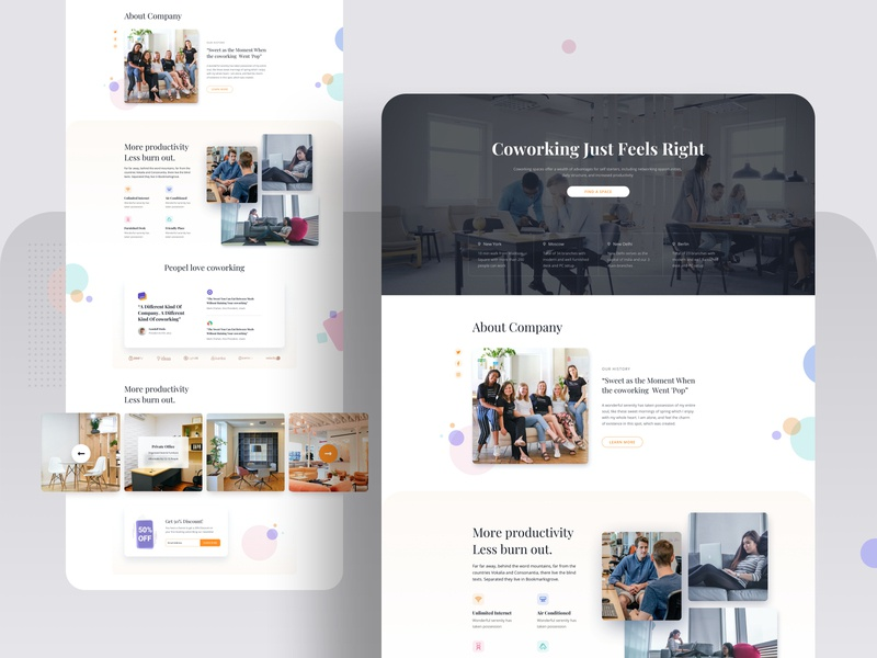 Co-working Space Layout Pack for SP Page Builder website responsive design layout trendy team office minimal coworking homepage pagebuilder joomla productdesign ux ui template