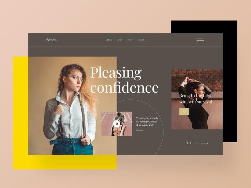Header Design mockup gradient trendy header design model fashion typography webui minimal creative banner header