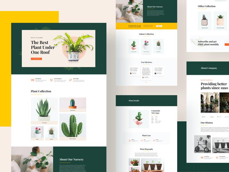 Plant Shop/Nursery Layouts for SP Page Builder Pro organic uidesign modern layout page builder joomla product design web design minimal design template layouts green layout nursery plant shop