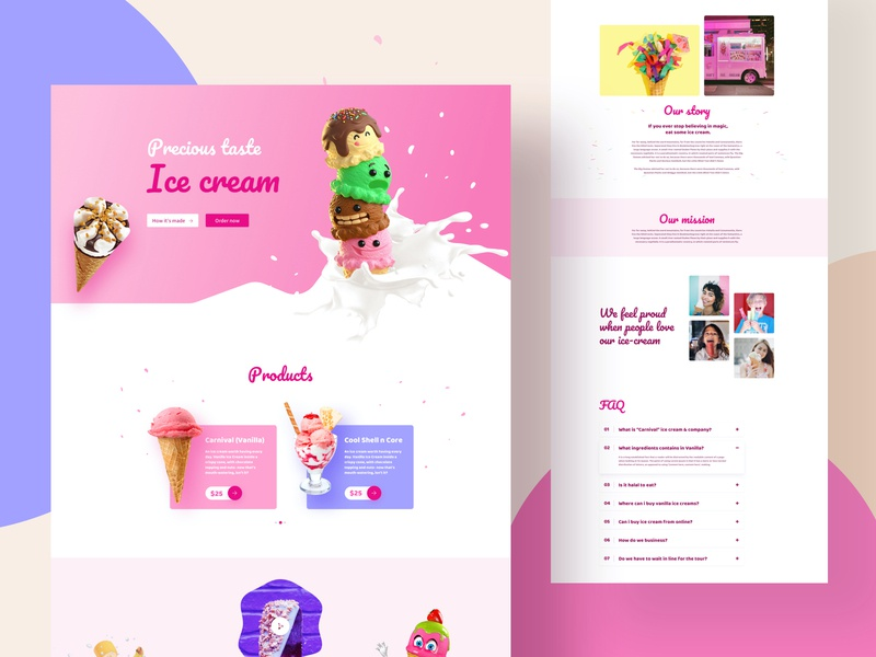 FREE Ice Cream Layouts for SP Page Builder Pro mockup template webui food colorful minimal home about contact page builder joomla free layouts shop business ice cream
