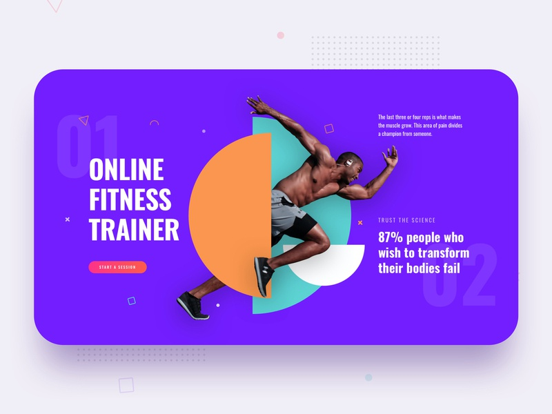 Fitness Trainer Layouts for SP Page Builder Pro shapes typography trendy colorful trainers webui fitness ui mockup minimal modern template gym workout health joomla creative banner header trainer fitness