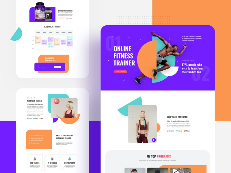 Fitness Trainer: A Free Layout Bundle for SP Page Builder Pro illustrative trendy typogaphy creative header pricing home about product design gym shapes webui lms joomla template workout online trainer fitness