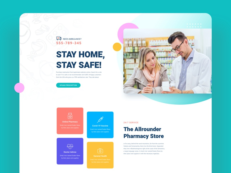 Pharmacy Layouts for SP Page Builder Pro trendy colorful modern mockup template product design uidesign medical web pharmacy website webui onlineshop vaccine medicine store medicine pharmacy