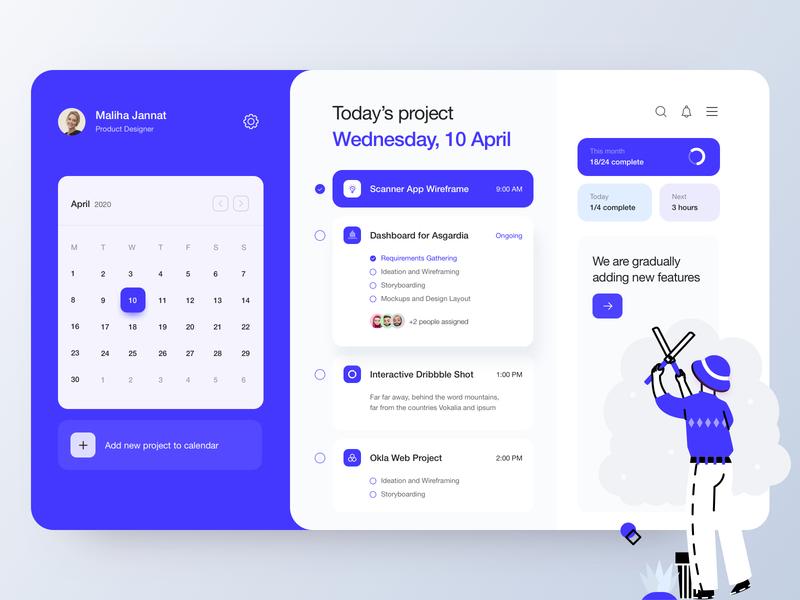 Project Management Dashboard web app dailyui illustration uidesign mockup colorful typography design trendy minimal blue dashboard ui project management product design ux ui dashboard