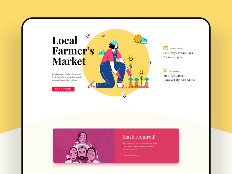 Farmers' Market Layouts for SP Page Builder Pro web home mockup typography trendy product design farming webui layouts illustration market vegetables grocery vendors farmers farmers market